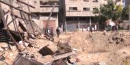 آثار قصف الاحتلال لورشة حدادة في حي الزيتون