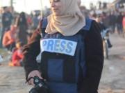 إصابة الصحفية صافيناز اللوح خلال تغطيتها لمسيرات العودة شرق البريج