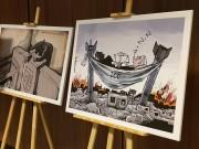 اختفاء معرض رسومات فلسطيني من داخل قاعة الجنايات الدولية