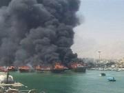 النيران تلتهم 4 قوارب في إيران