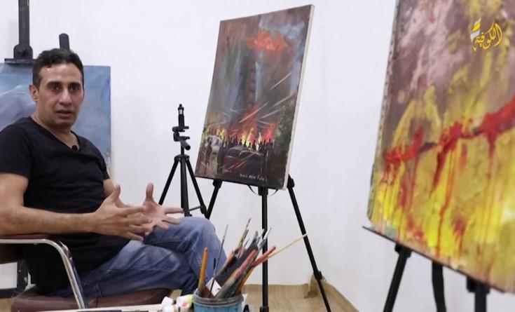 خاص بالفيديو|| فنان عراقي يجسد مأساة مرفأ بيروت في 8 مشاهد تشكيلية
