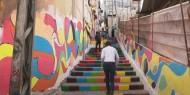 خاص بالصور والفيديو|| حارتنا الملونة.. مبادرة مجتمعية تضفي جمالا على حي الدرج في غزة