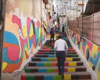 خاص بالصور والفيديو   حارتنا الملونة.. مبادرة مجتمعية تضفي جمالا على حي الدرج في غزة